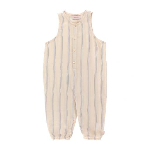 Tinycottons - Jumpsuit ''Stripes relaxed One-Piece'', light cream/iris blue