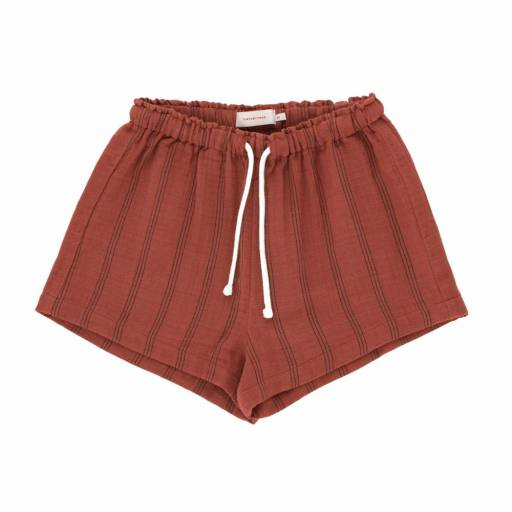 Tinycottons - Shorts ''Stripes'', maroon/ink blue