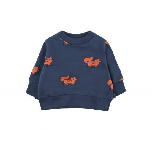 "Tinycottons - Sweatshirt ""Foxes"" light navy/sienna"