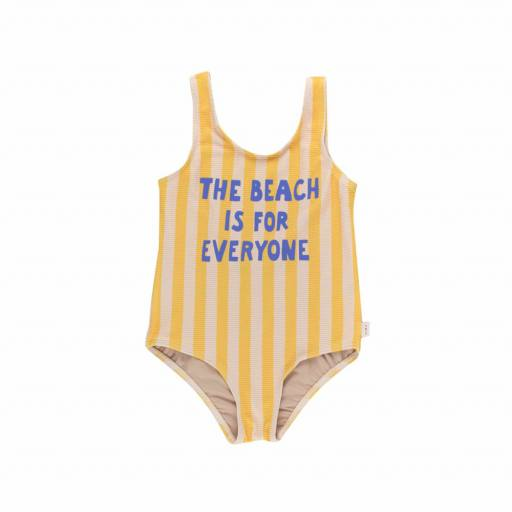 Tinycottons - Badeanzug ''the beach is for everyone'', yellow/light cream