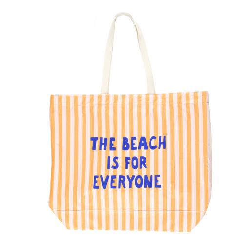 """Tinycottons - Strandtasche """"the beach is for everyone Tote Bag"""", yellow light cream"""