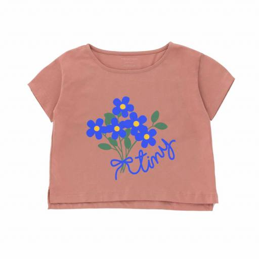 Tinycottons - T-Shirt ''Tiny Bouquet Crop Tee'', mauve/iris blue