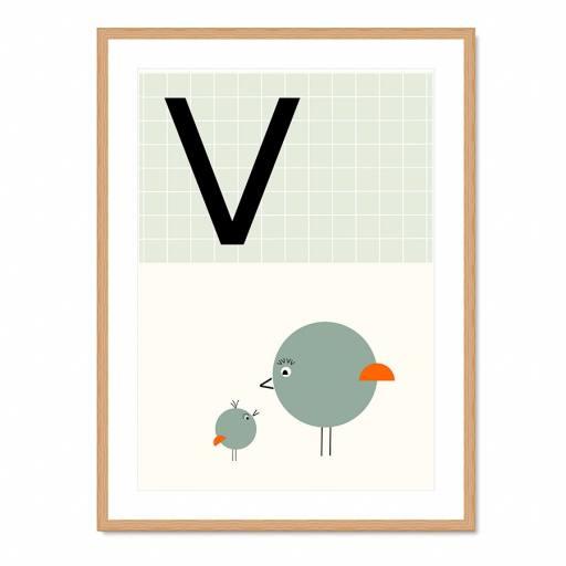 "VINTA SERIES - Buchstaben-Plakat ""V"""