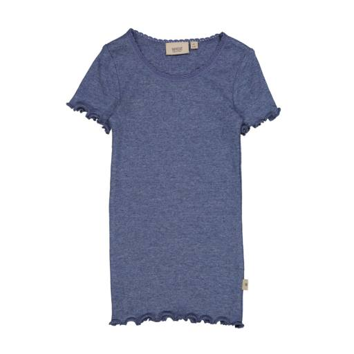 "Wheat - T-Shirt ""Rib T-Shirt Lace"", blue melange"