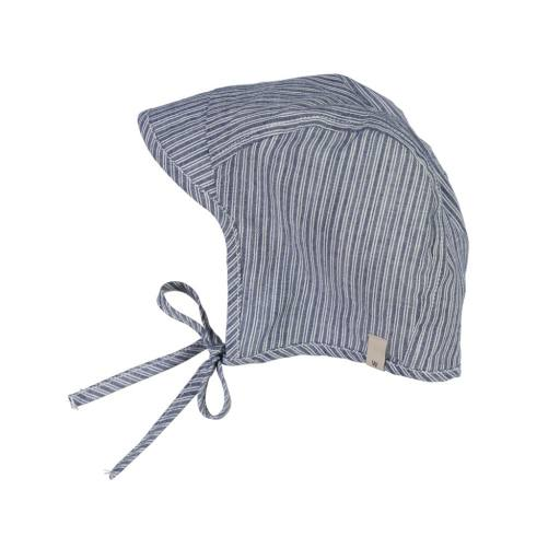 "Wheat - Sonnenhut ""Woven Bonnet Obi"", cool blue stripe"